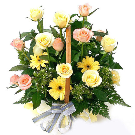 AR 08 - Soft Yellow Basket Arrangement