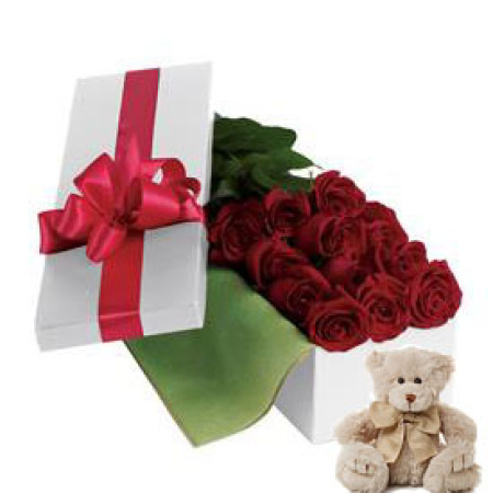Val 08. Dozen roses Long Boxed Deco with Teddy bear.