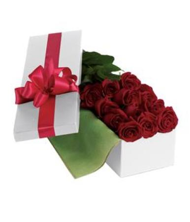 Val 07 -  Dozen roses with Long Boxed Deco.