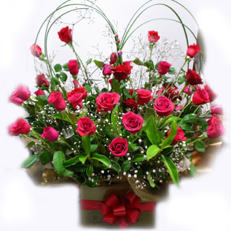 AN 05 - Red Boxed Love Heart Arrangement