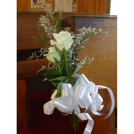 Wedding Church Pew Flower Decoration 02